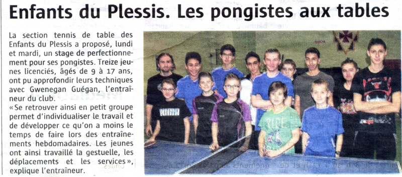 Tennis de table stage 02 03 mars les enfants du plessis - Stage tennis de table hennebont ...